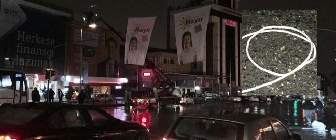 Beykoz'da 'Hayır' pankartı asan CHP'lilere kurusıkı şoku