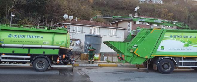 Beykoz un çöp konteynerleri düzenli olarak temizleniyor