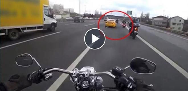 Motosiklet sürücüsünün Beykoz'da ölümden döndüğü an!